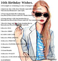 listography: to do (16th birthday wishes and must do)